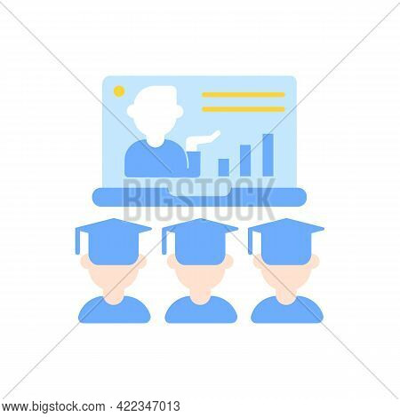 Online Lecture Vector Flat Color Icon. Internet Education. Webinar For Students. Distant Studying. E