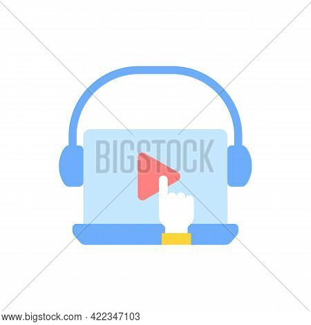 Online Video For E Learning Vector Flat Color Icon. Skill Development With Elearning Course. Educati