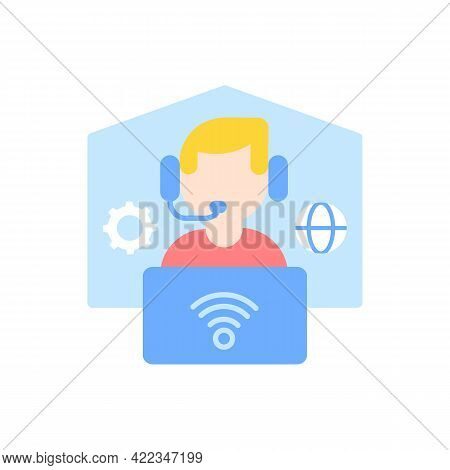 Remote Workplace Vector Flat Color Icon. Freelancer Work. Distant Workspace. Home Office For Freelan