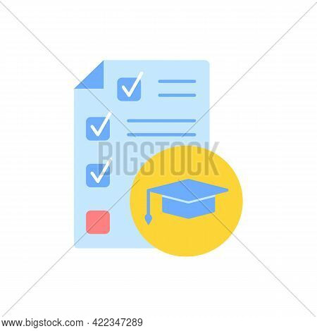 Test Paper For Knowledge Evaluation Vector Flat Color Icon. Skill Evaluation, Learning Course Assess