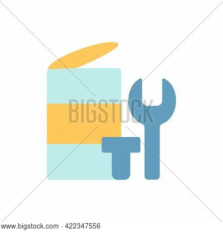 Metal Waste Vector Flat Color Icon. Scrap Iron And Aluminium Components. Drink Cans. Spent Battery C