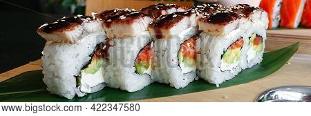 Inside Out Rolls With Aal, Cream Cheese, Avocado And Salmon. Concept Of Delicious Rolls