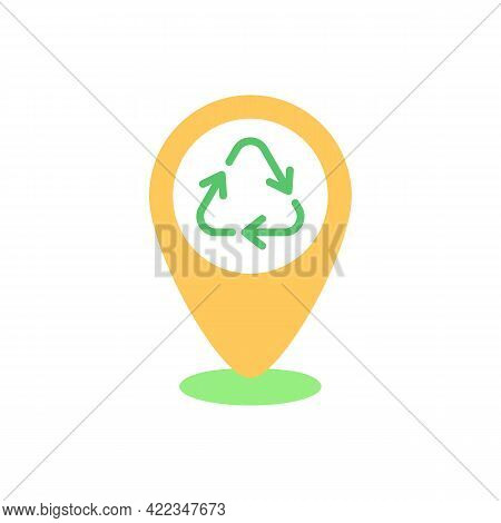 Dropping Off Locations Vector Flat Color Icon. Place With Collection Bins. Landfill And Recycling Ce