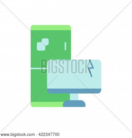 Electronic Waste Vector Flat Color Icon. E-waste. Discarded Electrical And Electronic Devices. Compu