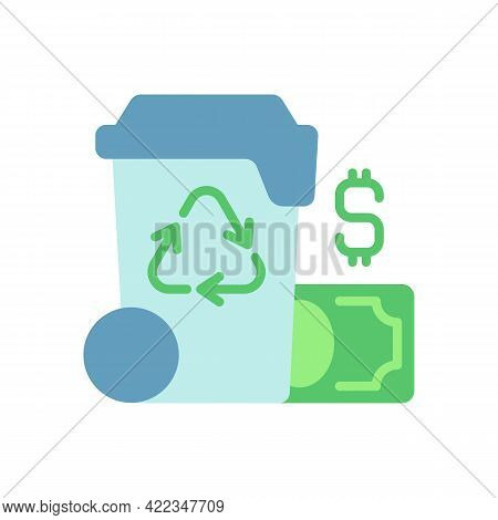 Waste Management Cost Vector Flat Color Icon. Recycling Waste Costs. Source Reduction. Financing And