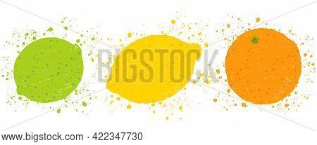 Vector Illustration Of Lemon, Orange And Lime In Vintage Style. Vector Juicy Lemon, Orange And Lime