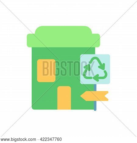 Recycling Collection Center Vector Flat Color Icon. Landfill And Material Recovery Facility. Drop-of