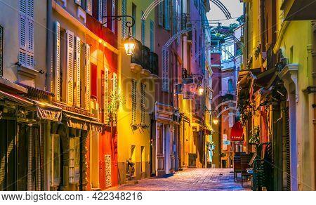 Monaco, Monaco - Sep 7, 2018: Architecture Of The Old Town Of Monaco On French Riviera.