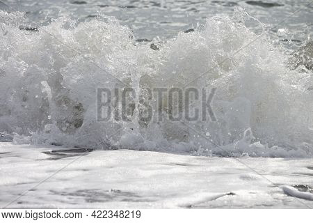 Inside Hollow Ocean Wave Clean Ocean Wave Surging And Crashing Towards Shallow Sandbars