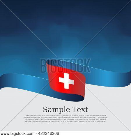 Switzerland Flag On A Blue White Background. Vector Banner Design, Switzerland National Poster. Cove