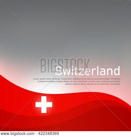 Abstract Waving Switzerland Flag. Creative Shining Background For Design Of Patriotic Swiss Holiday