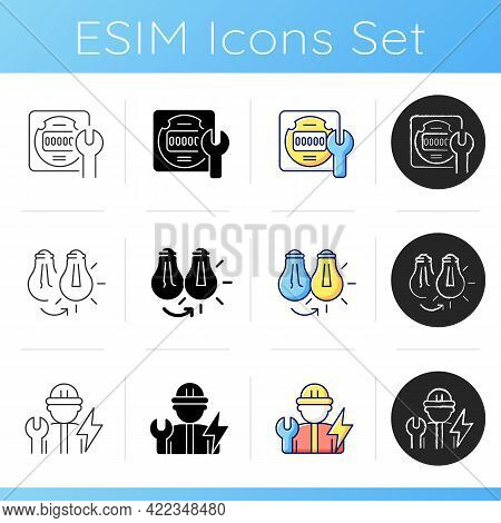 Electrician Service Icons Set. Energy Meter Maintenance. Changing Lightbulb. Operating With Electric