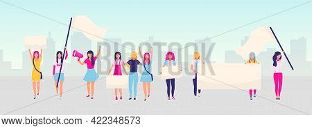 Women Empowerment Protest Flat Vector Illustration. Feminist Demonstration, Girl Power Movement Conc