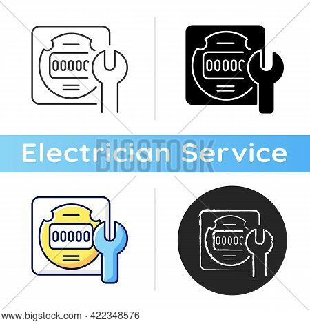 Electrical Meter Repair Icon. Clock-like Device Installation. Energy Meter Maintenance. Providing In