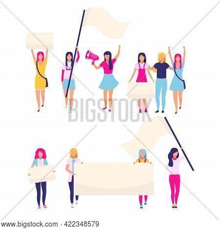 Female Protesters With Blank Placards Flat Vector Characters. Feminist Activists, Women Rights Prote