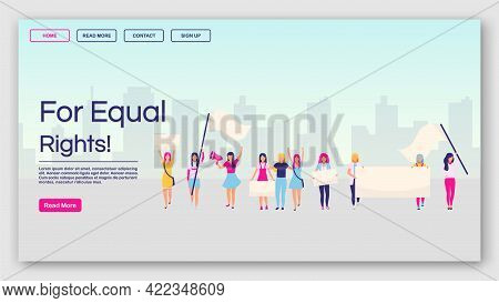 For Equal Rights Landing Page Vector Template. Feminist Protest Website Interface Idea With Flat Ill
