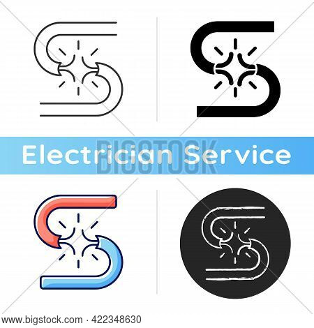 Short Circuit Icon. Voltage Streaming Excess. Appliance Damage. Flickering Lights, Burns On Wire. Ex