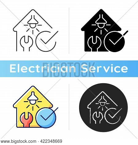 Electrical Safety Inspection Icon. Examination For Electrical Wiring Damage. Appliances Checkup. Out