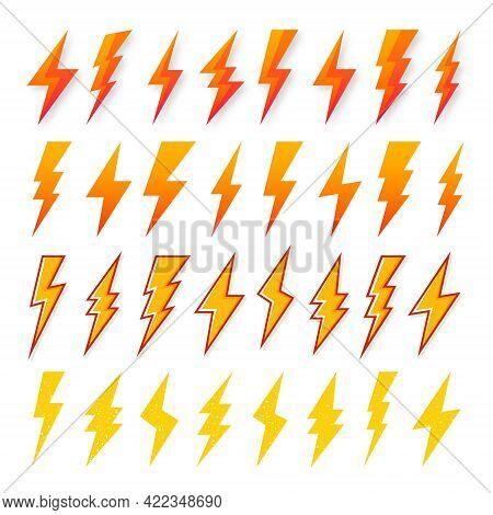 Yellow And Orange Lightning Bolt Icons Isolated On White Background. Vintage Flash Symbol, Thunderbo