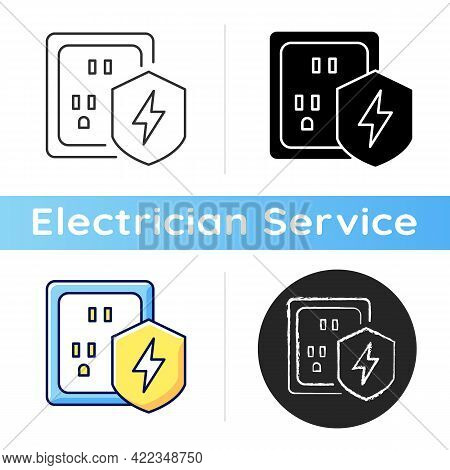 Surge Protection Icon. Electrical Installation Protection. Voltage Spikes Risk Prevention. Equipment