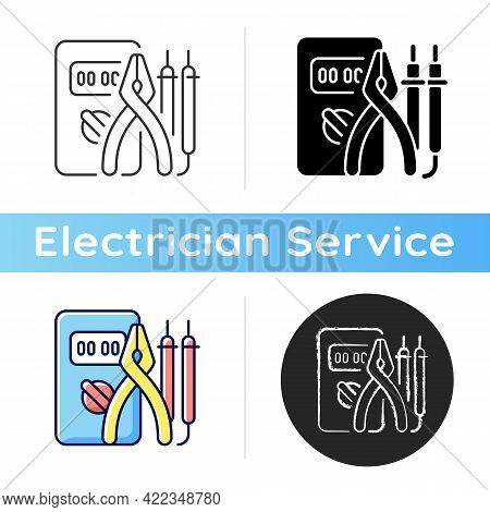 Electrician Tools Icon. Test Instruments. Ensuring Optimal Safety. Screwdrivers. Electrical Engineer