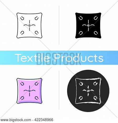 Cushion Icon. Cotton Pillow Case. Linen Bedding. Bedroom Textile Products, Household Cloths. Domesti