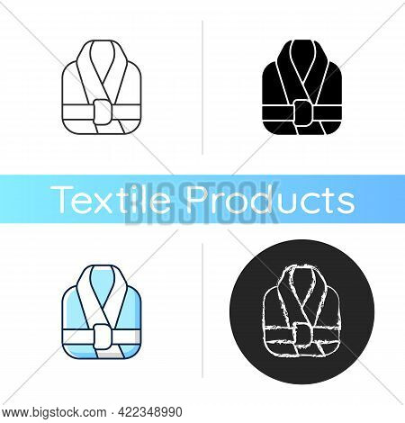 Bath Robe Icon. Clean Folded Clothes. Bathrobe For Shower. Spa, Sauna Wear. Textile Products And Hou