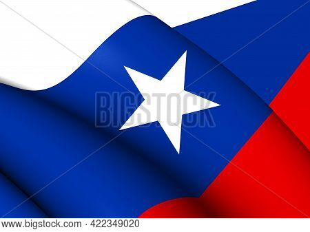 3d Pilot Flag Of Texas (1839-1845). 3d Illustration.
