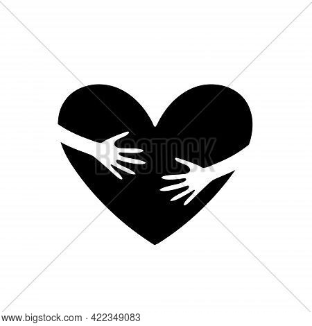 Hands Embrace The Heart Icon Vector Illustration