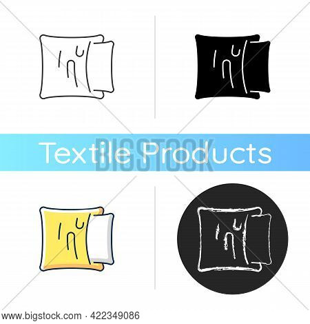 Pillowcase Icon. Comfortable Cushion For Bed. Soft Pillow Cases. Textile Products, Household Cloths.