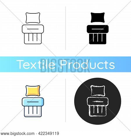 Single Bed Set Icon. Blanket With Cushion. Hotel Room For Rest. Comfortable Bedding. Textile Product