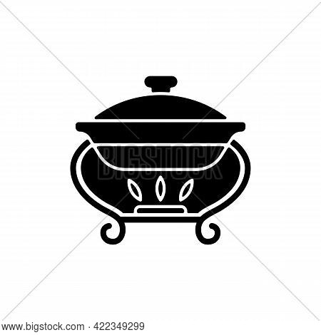 Warming Tray Black Glyph Icon. Chafing Dish For Storing Foods. Container Which Keeps Meals Warm. Eve