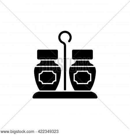 Condiments Set Black Glyph Icon. Matched Group Of Containers. Kitchen Place For Storing Salt And Pep