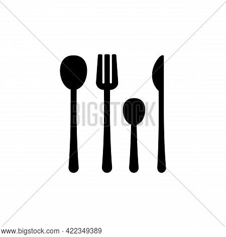 Forks, Knives And Spoons Black Glyph Icon. Dinner Accessories For Eating At Home. Kitchen Equipment.