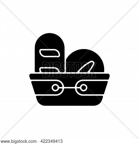 Bread Basket Black Glyph Icon. Container For Storing Bakery Products. Specialy Designed Kitchen Equi