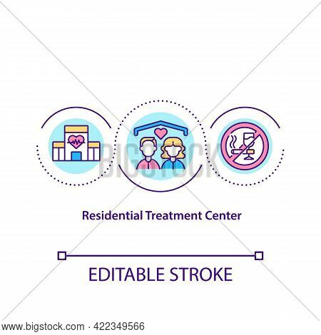 Residential Treatment Center Concept Icon. Health Care Facility For Helping People. Cure Addiction A