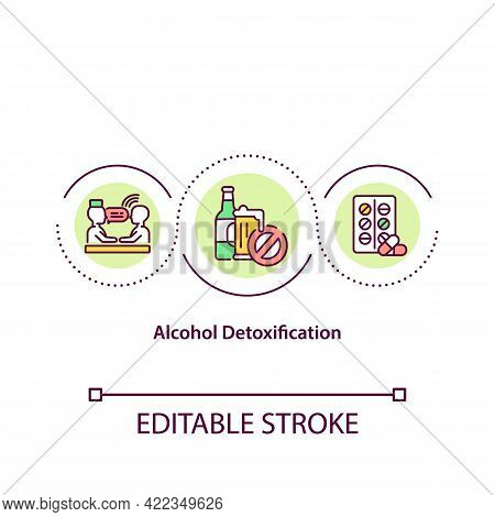 Alcohol Detoxification Concept Icon. Clearing Human Body From Toxic Drugs. Alcoholism Treatment Abst