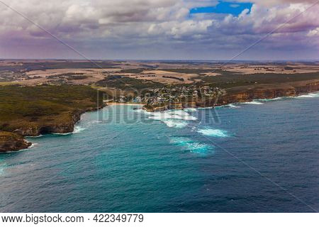 Pacific coast. Australia. Scenic coastline. The concept of extreme, active and photo tourism. Picture taken from a helicopter