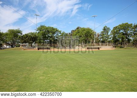May 27, 2021 Irvine, California: Baseball Field. An empty Baseball Field is clean and ready for the Next Big Game. Baseball is America's number one sport. Editorial use only.
