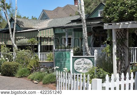 SAN JUAN CAPISTRANO, CALIFORNIA - 27 MAY 2021: The Tea House on Los Rios in a restored 1911 cottage, complete with a wraparound veranda and lush garden.