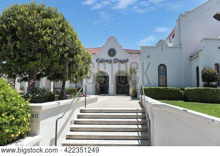 SAN JUAN CAPISTRANO, CALIFORNIA - 27 MAY 2021: Calvary Chapel near the Mission in the Historic Orange County town.