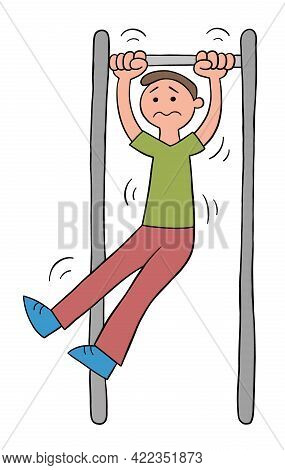 Cartoon Man On The Pull-up Bar But Can't, Vector Illustration. Black Outlined And Colored.