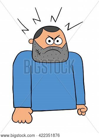 Cartoon Angry Bad Man, Vector Illustration. Black Outlined And Colored.