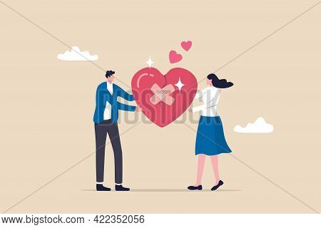 Forgiveness To Keep Relationship Last Long, Togetherness Or Love Couple Concept, Happy Man And Woman