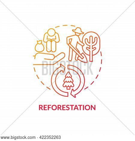 Reforestation Concept Icon. Carbon Offsetting Abstract Idea Thin Line Illustration. Existing Woodlan