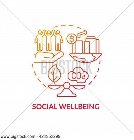 Social Wellbeing Concept Icon. Carbon Offset Abstract Idea Thin Line Illustration. Community Health