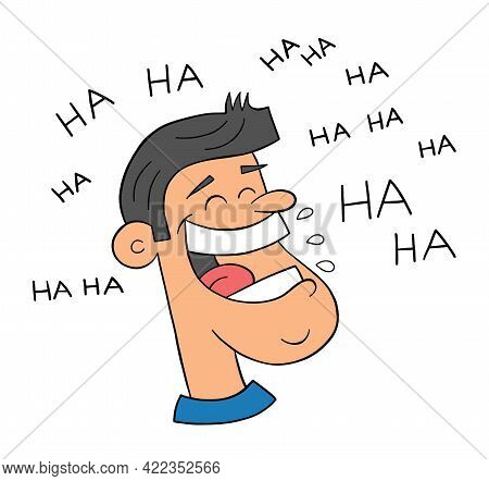 Cartoon Man Very Happy And Laughing Out Loud, Vector Illustration. Black Outlined And Colored.
