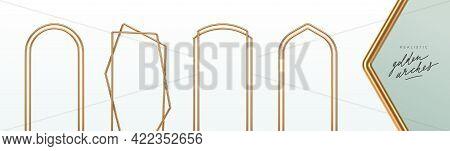 Set Of Realistic Golden Metal Arches. 3d Golden Architectural Elements. Modern Decoration. Minimal D