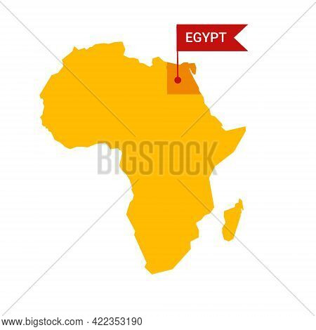 Egypt On An Africa S Map With Word Egypt On A Flag-shaped Marker.