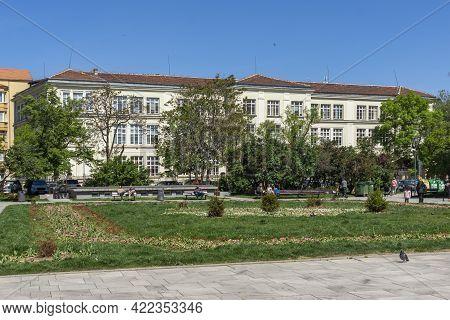 Sofia, Bulgaria - May 9, 2021: Panoramic View Of Graf Ignatiev Street In Sofia, Bulgaria